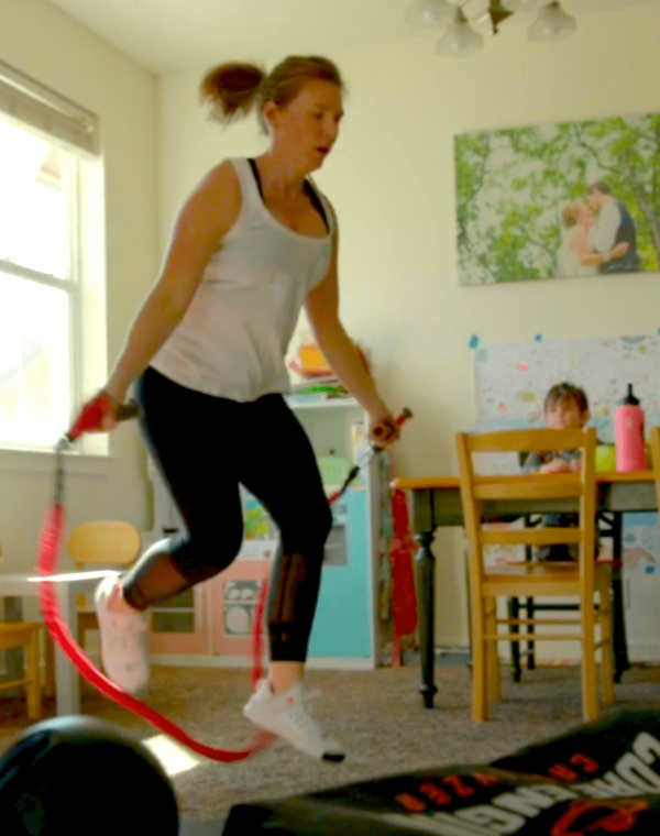 CATALYZER, Girl Jumping rope at home with kids drawing in the dining room