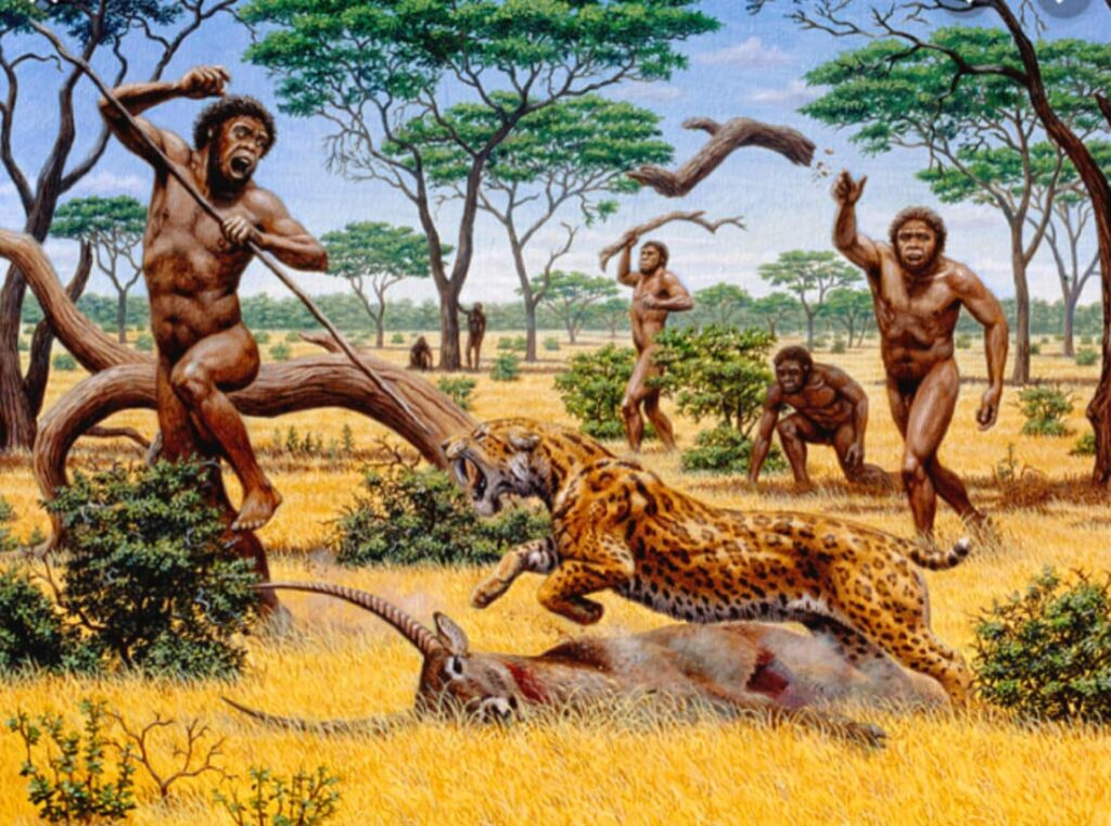Cave men hunting. This picture shows how humans naturally move, rotate and use their core as an engine.