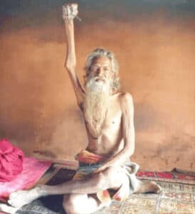 Sadhu Amar,An Indian man says he's been holding his right hand up in the air since 1973. He's lost use of his limb.